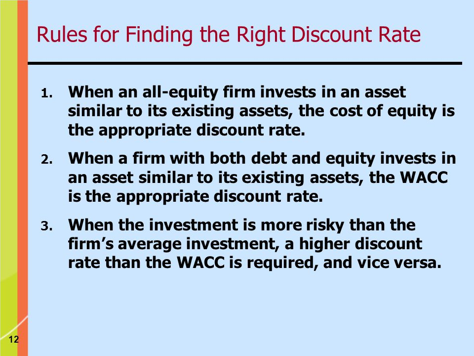 12 Rules for Finding the Right Discount Rate 1.