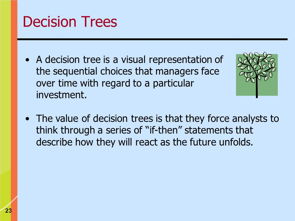 23 Decision Trees A decision tree is a visual representation of the sequential choices that managers face over time with regard to a particular investment.