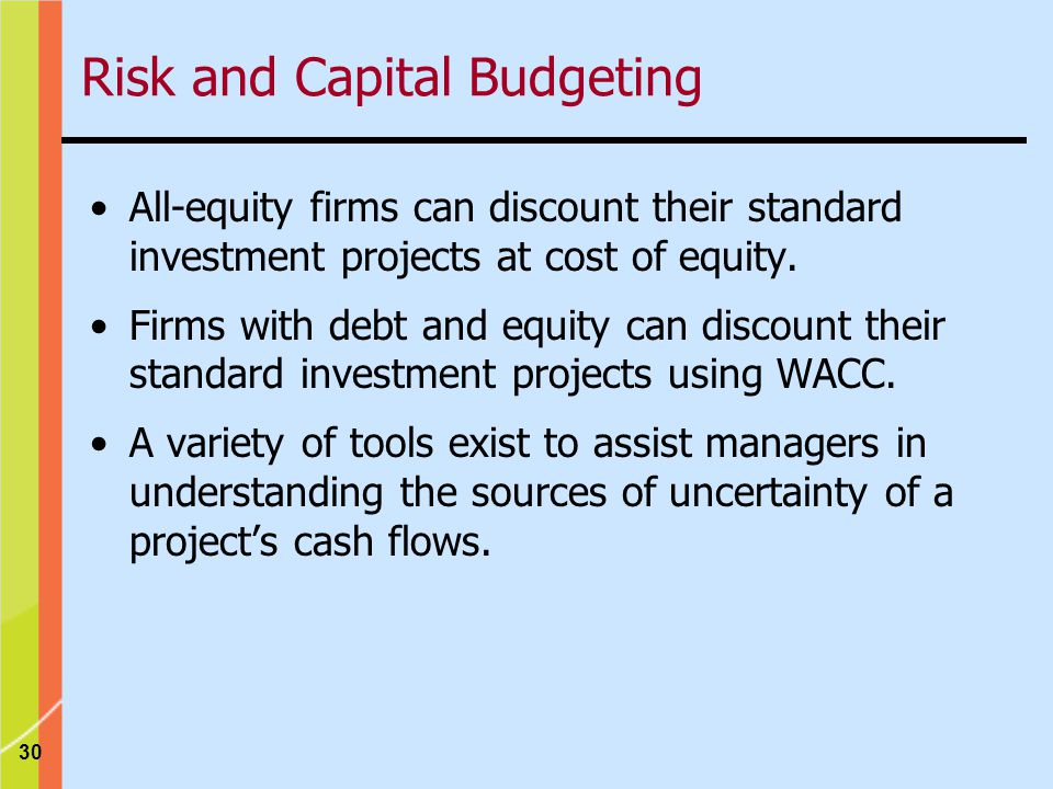 30 All-equity firms can discount their standard investment projects at cost of equity.