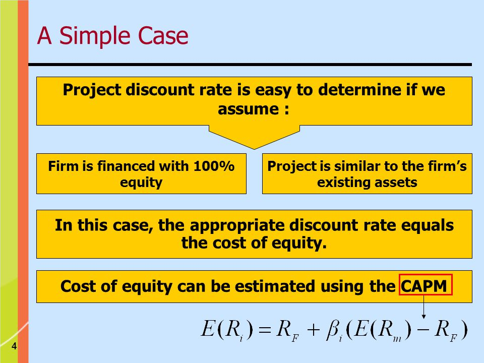 4 Firm is financed with 100% equity Project is similar to the firms existing assets Project discount rate is easy to determine if we assume : In this case, the appropriate discount rate equals the cost of equity.