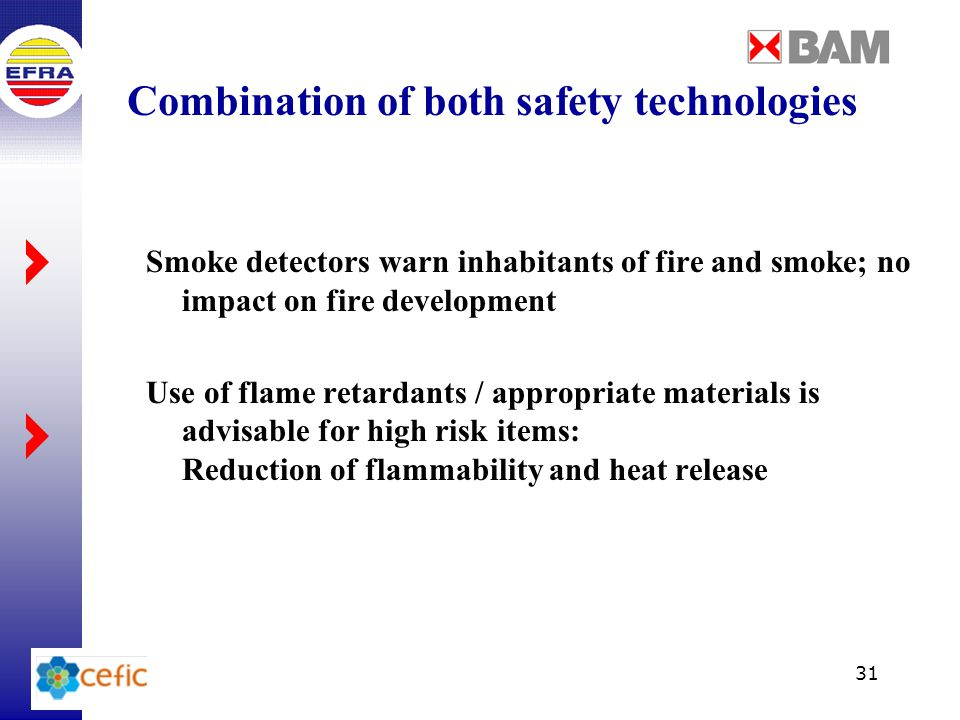 31 Combination of both safety technologies Smoke detectors warn inhabitants of fire and smoke; no impact on fire development Use of flame retardants / appropriate materials is advisable for high risk items: Reduction of flammability and heat release