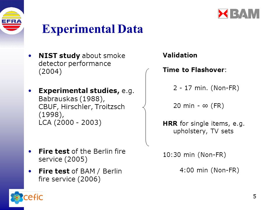 5 Experimental Data NIST study about smoke detector performance (2004) Experimental studies, e.g.