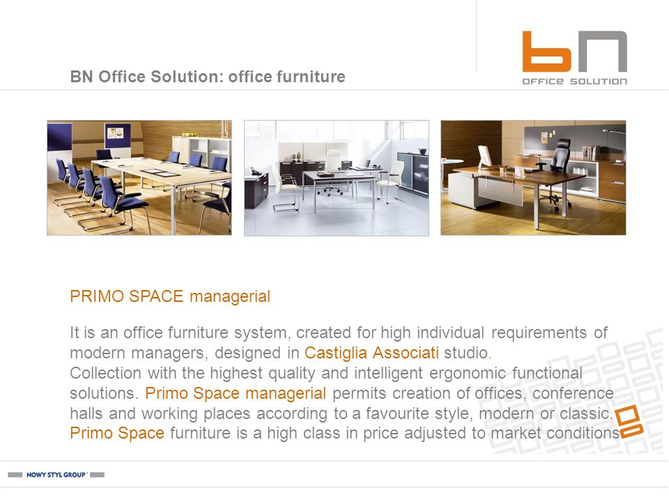 It is an office furniture system, created for high individual requirements of modern managers, designed in Castiglia Associati studio.