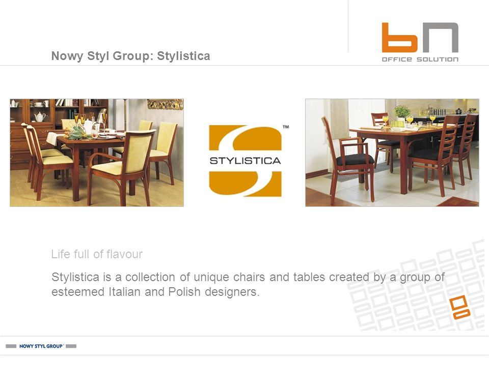 Stylistica is a collection of unique chairs and tables created by a group of esteemed Italian and Polish designers.