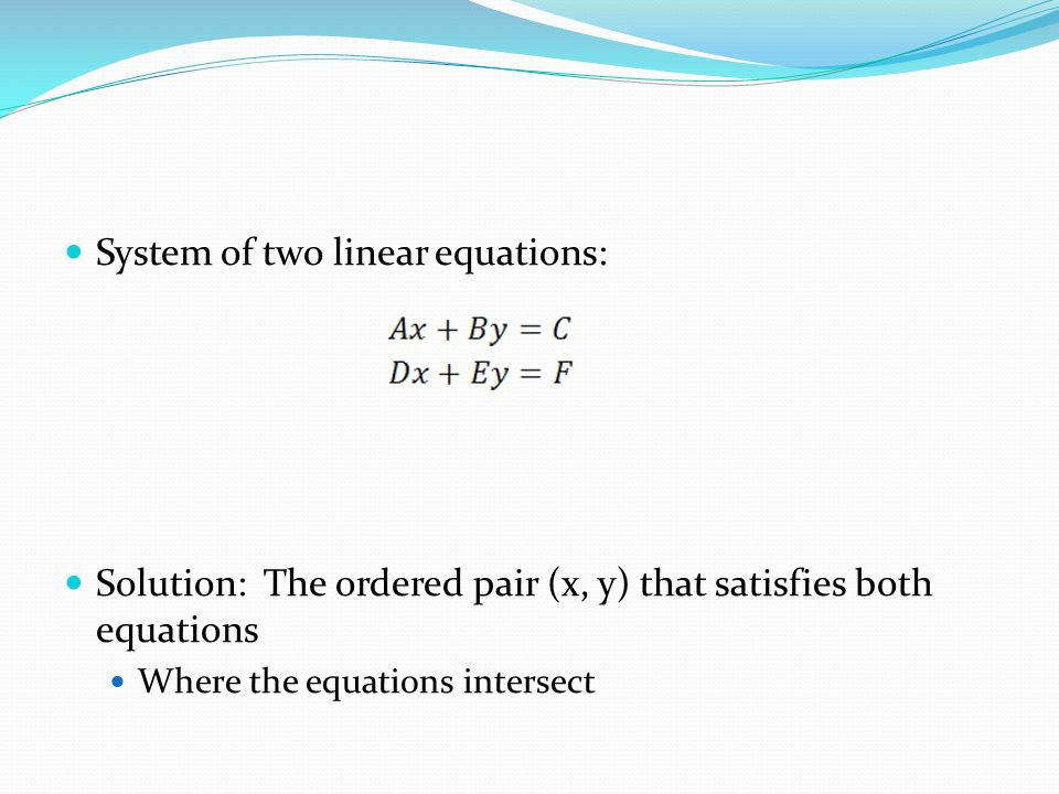 System of two linear equations: Solution: The ordered pair (x, y) that satisfies both equations Where the equations intersect