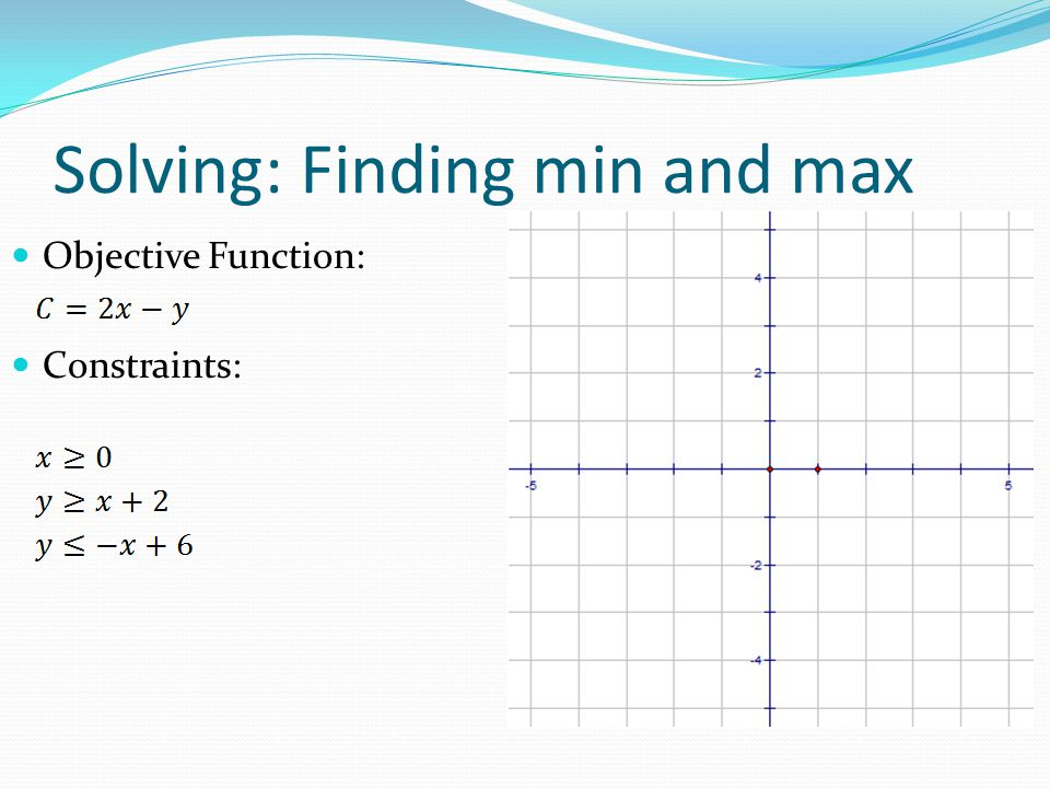 Objective Function: Constraints: Solving: Finding min and max