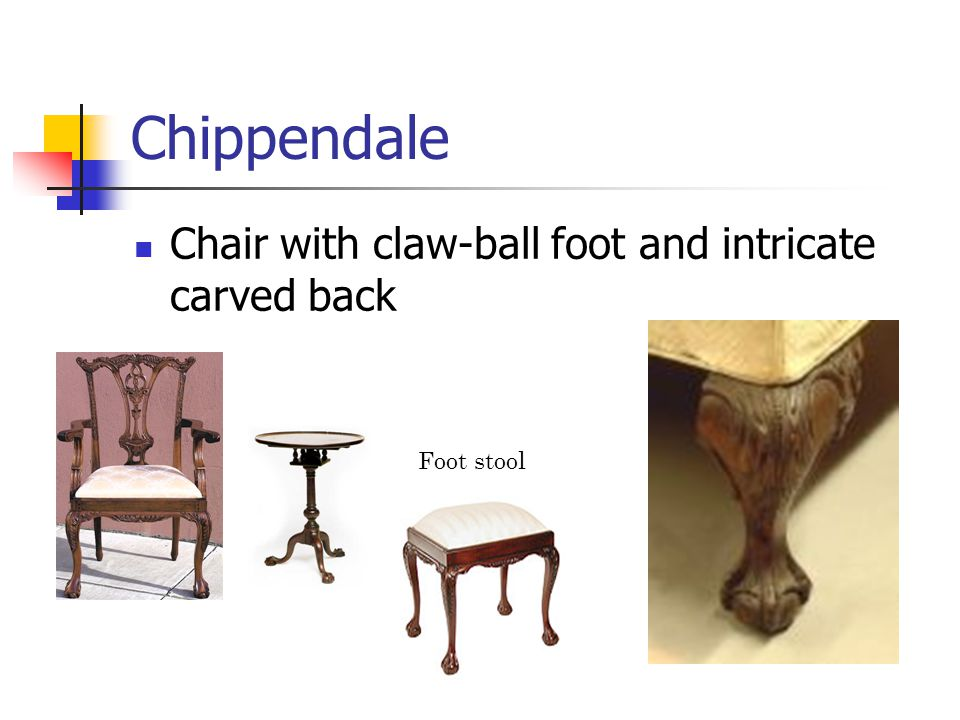 Chippendale Chair with claw-ball foot and intricate carved back Foot stool