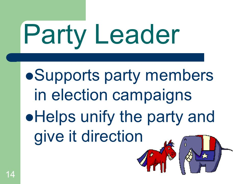 14 Party Leader Supports party members in election campaigns Helps unify the party and give it direction