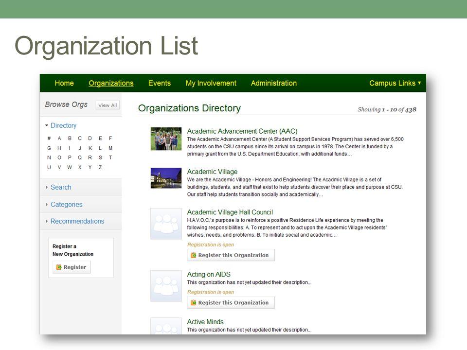 Organization List
