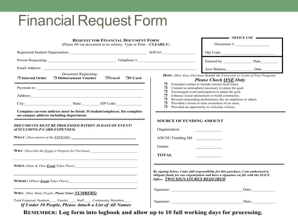 Financial Request Form
