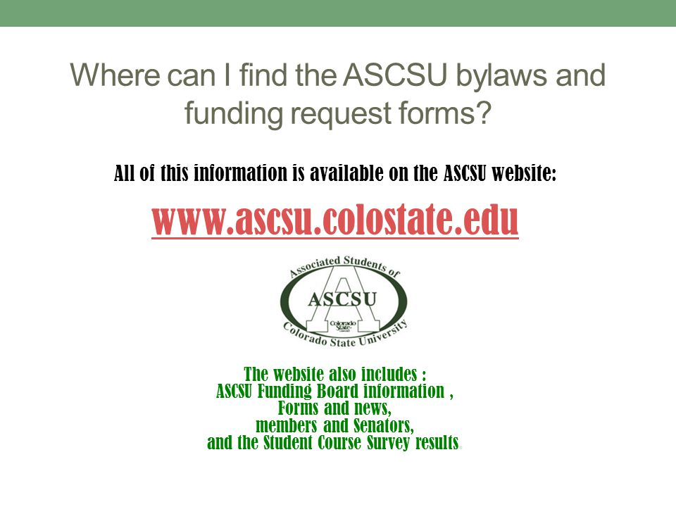 Where can I find the ASCSU bylaws and funding request forms.