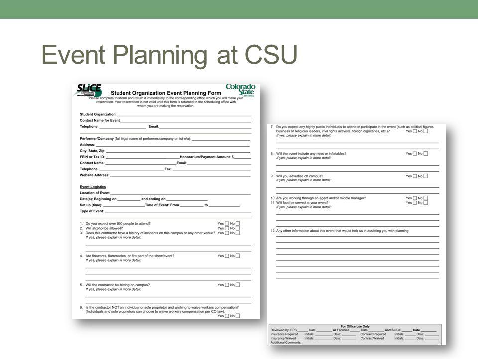 Event Planning at CSU