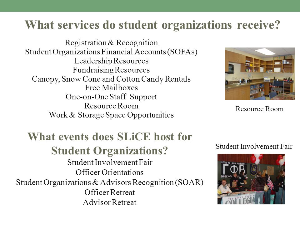 Registration & Recognition Student Organizations Financial Accounts (SOFAs) Leadership Resources Fundraising Resources Canopy, Snow Cone and Cotton Ca