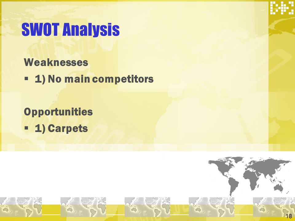 18 SWOT Analysis Weaknesses 1) No main competitors Opportunities 1) Carpets