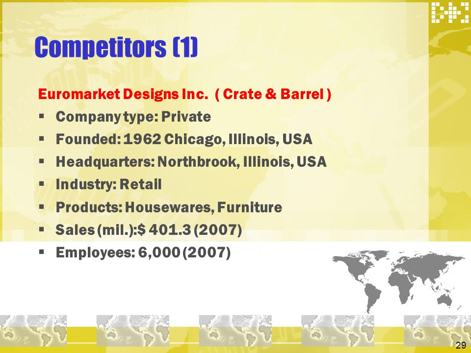 29 Competitors (1) Euromarket Designs Inc. ( Crate & Barrel ) Company type: Private Founded: 1962 Chicago, Illinois, USA Headquarters: Northbrook, Ill