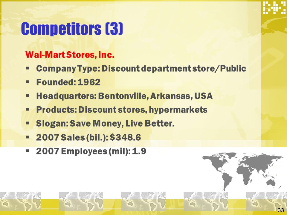 33 Competitors (3) Wal-Mart Stores, Inc. Company Type: Discount department store/Public Founded: 1962 Headquarters: Bentonville, Arkansas, USA Product