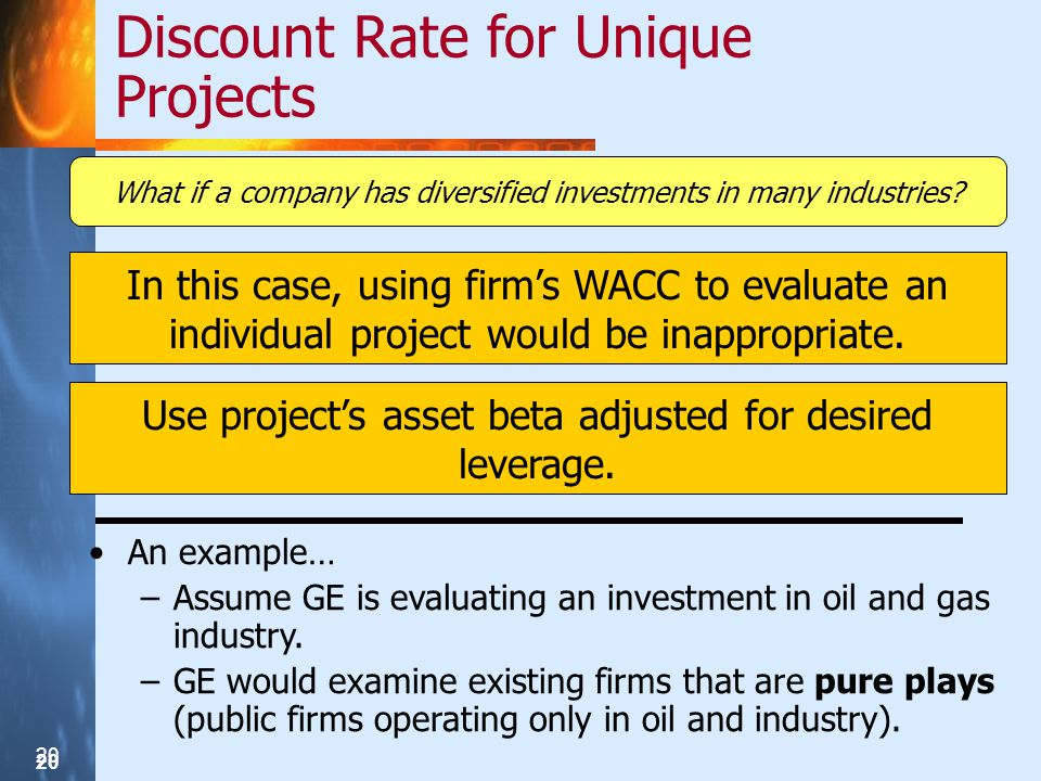 20 Discount Rate for Unique Projects What if a company has diversified investments in many industries.