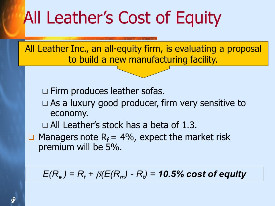 9 9 9 All Leathers Cost of Equity E(R e ) = R f + (E(R m ) - R f ) = 10.5% cost of equity All Leather Inc., an all-equity firm, is evaluating a proposal to build a new manufacturing facility.