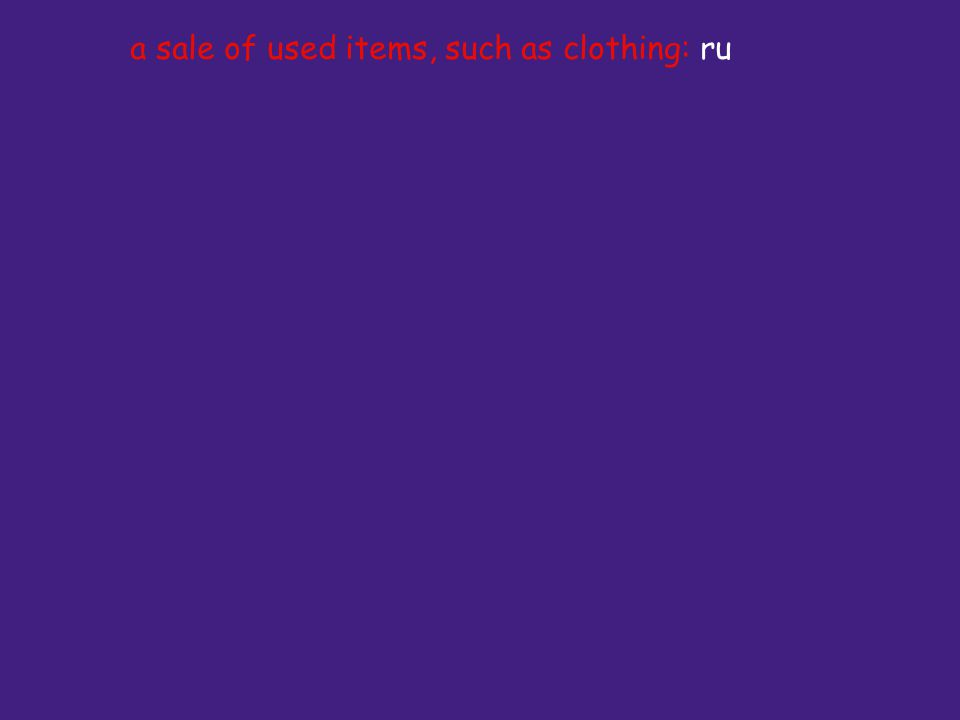 a sale of used items, such as clothing: ru