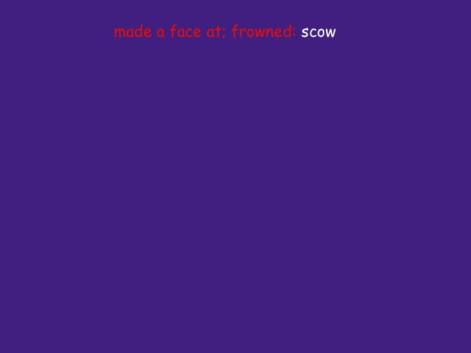 made a face at; frowned: scow