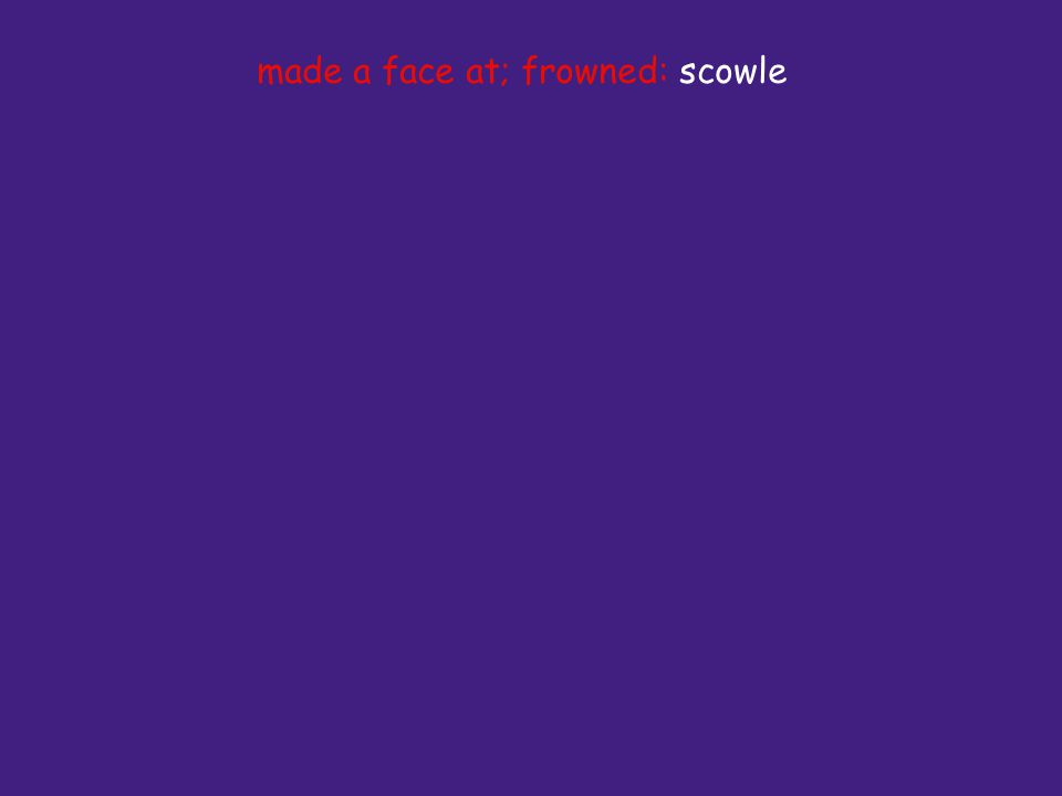 made a face at; frowned: scowle