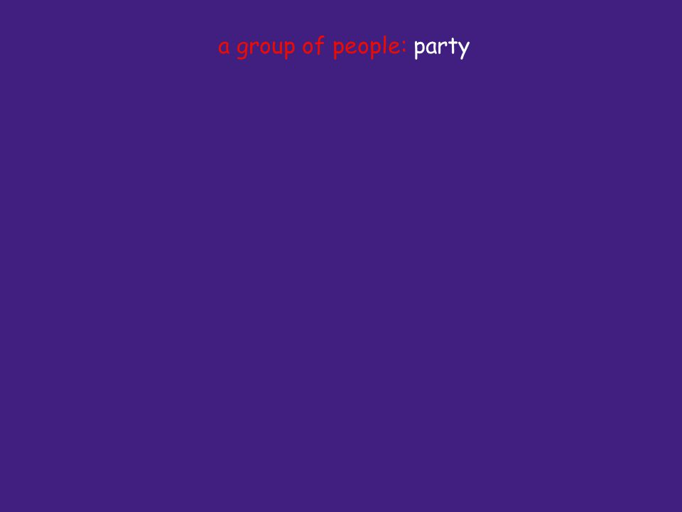 a group of people: party