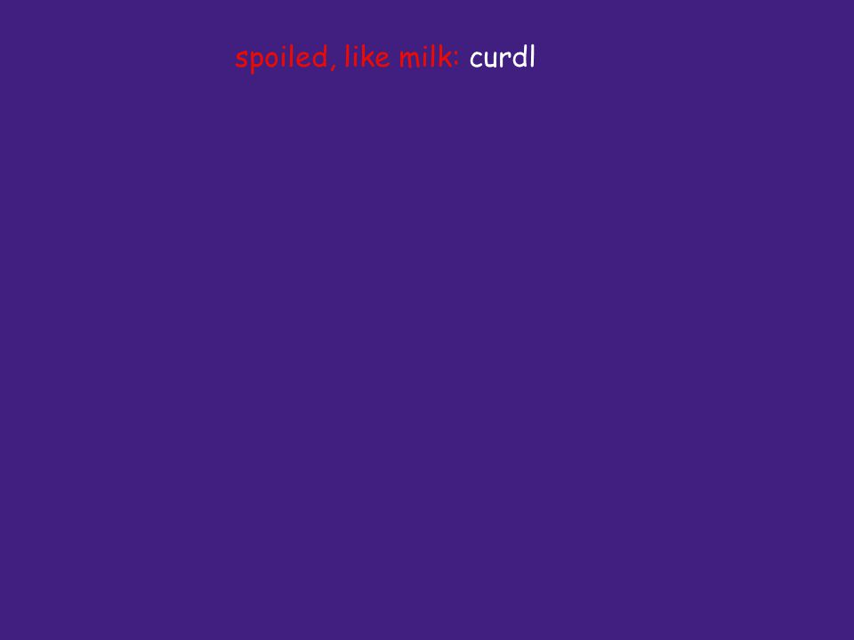 spoiled, like milk: curdl