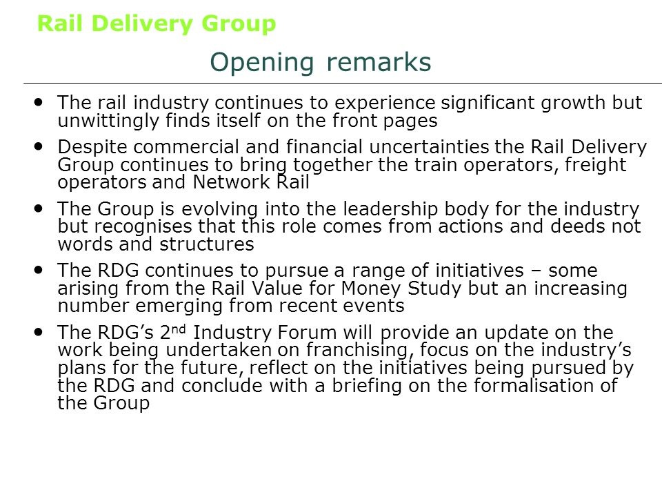 Rail Delivery Group 54 What is Network Optimisation.