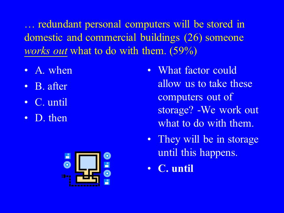 By 2006, (25) that 5.3 million redundant personal computers will be stored in domestic and commercial buildings … (74%) A. it has been proved B. it is