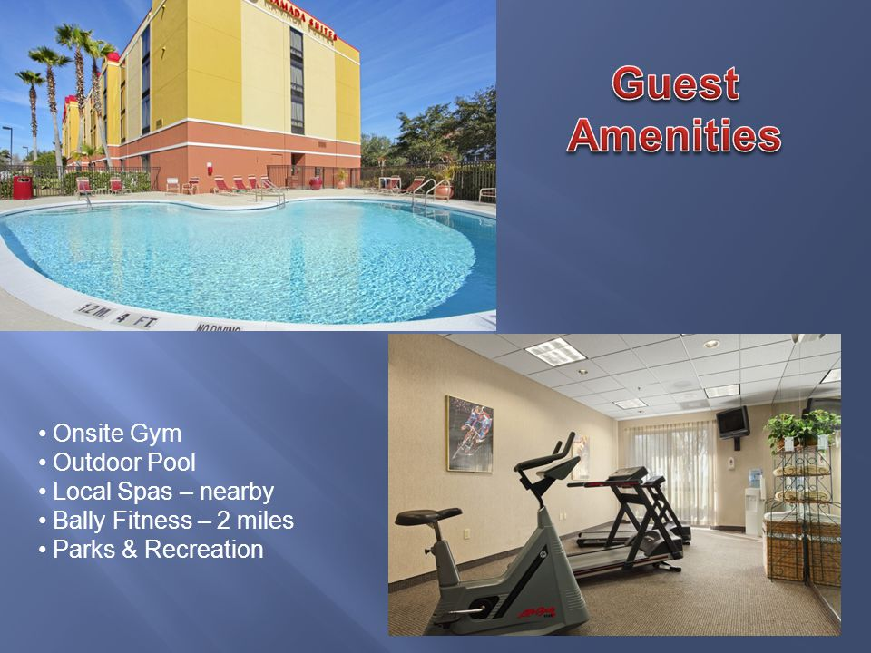 Onsite Gym Outdoor Pool Local Spas – nearby Bally Fitness – 2 miles Parks & Recreation