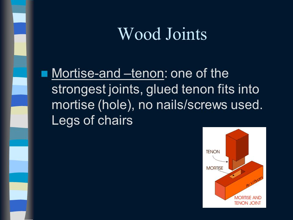 Wood Joints Mortise-and –tenon: one of the strongest joints, glued tenon fits into mortise (hole), no nails/screws used. Legs of chairs