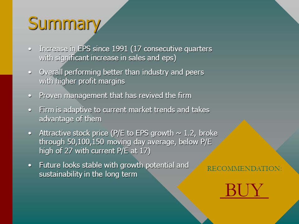 Summary Increase in EPS since 1991 (17 consecutive quarters with significant increase in sales and eps)Increase in EPS since 1991 (17 consecutive quarters with significant increase in sales and eps) Overall performing better than industry and peers with higher profit marginsOverall performing better than industry and peers with higher profit margins Proven management that has revived the firmProven management that has revived the firm Firm is adaptive to current market trends and takes advantage of themFirm is adaptive to current market trends and takes advantage of them Attractive stock price (P/E to EPS growth ~ 1.2, broke through 50,100,150 moving day average, below P/E high of 27 with current P/E at 17)Attractive stock price (P/E to EPS growth ~ 1.2, broke through 50,100,150 moving day average, below P/E high of 27 with current P/E at 17) Future looks stable with growth potential and sustainability in the long termFuture looks stable with growth potential and sustainability in the long term RECOMMENDATION: BUY