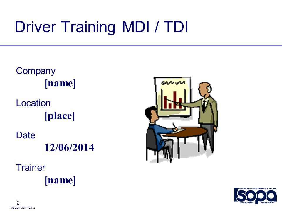 Version March 2012 2 Driver Training MDI / TDI Company [name] Location [place] Date 12/06/2014 Trainer [name]