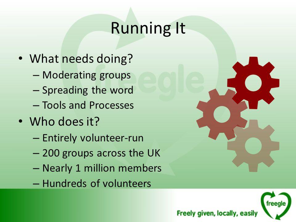 Running It What needs doing.