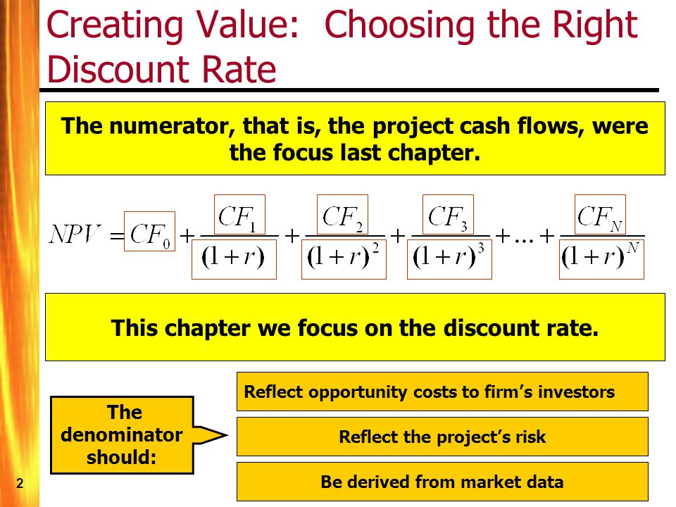 2 Creating Value: Choosing the Right Discount Rate The numerator, that is, the project cash flows, were the focus last chapter.