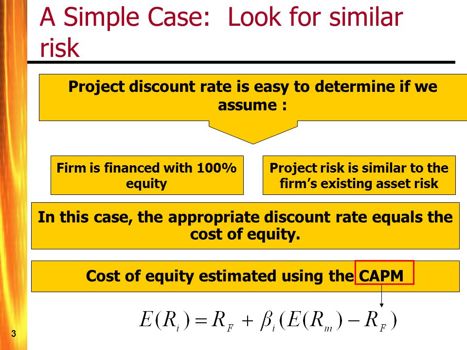 14 The WACC – Weighted Average Cost of Capital It is common for firms to use debt and preferred as well as equity to finance itself (using debt increases financial leverage).