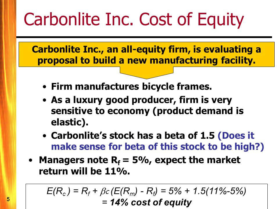 16 Cost of Equity (market evidence) We know from the Dividend Discount Model (DDM, Chapter 5) that: P 0 = D 1 /(R-g) –Where R = the appropriate discount rate to use in discounting the firms future dividends –This rate, R, varies with the systematic risk of the company If we know, (or can estimate) D 1, g, and P 0 ) then we can compute r E = D 1 /P 0 + g The is one way to measure R E = cost of equity