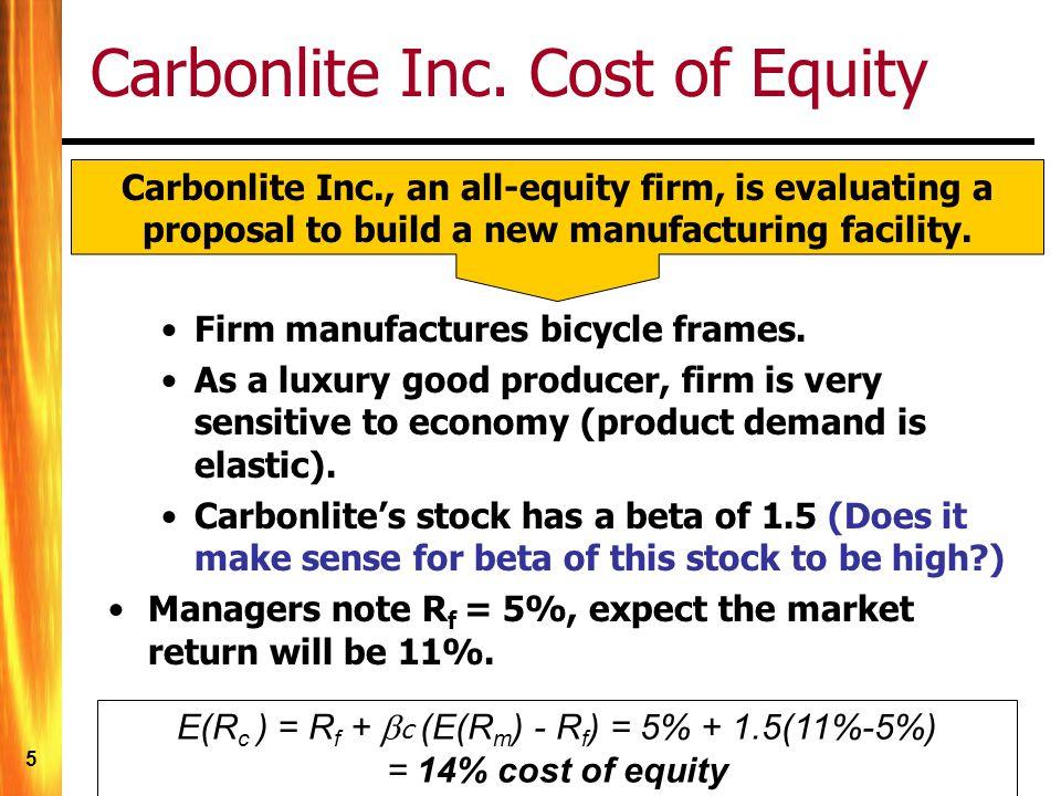 5 Carbonlite Inc. Cost of Equity E(R c ) = R f + c (E(R m ) - R f ) = 5% + 1.5(11%-5%) = 14% cost of equity Carbonlite Inc., an all-equity firm, is ev