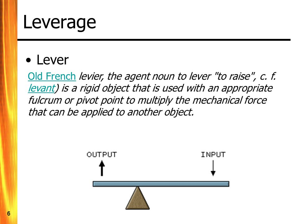 6 Leverage Lever Old FrenchOld French levier, the agent noun to lever to raise , c.