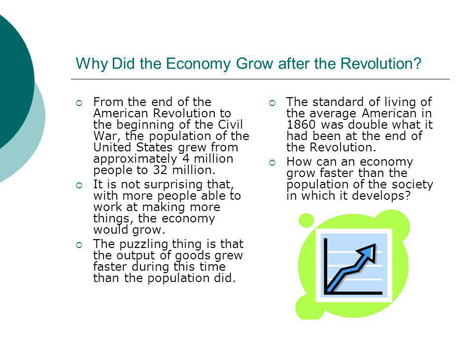 Why Did the Economy Grow after the Revolution? From the end of the American Revolution to the beginning of the Civil War, the population of the United