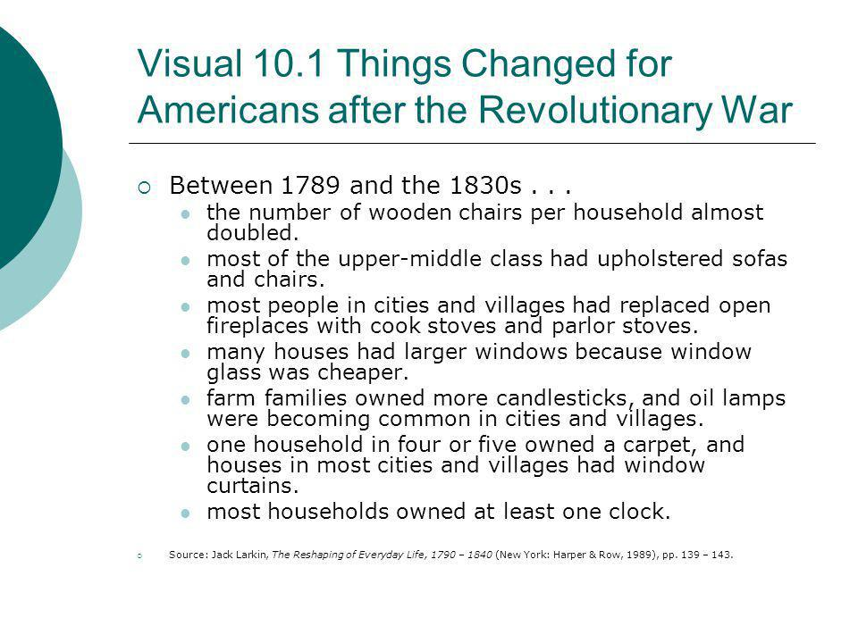 Visual 10.1 Things Changed for Americans after the Revolutionary War Between 1789 and the 1830s... the number of wooden chairs per household almost do