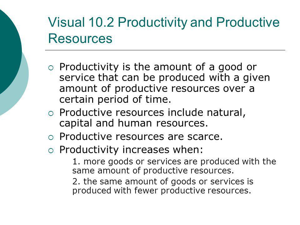 Visual 10.2 Productivity and Productive Resources Productivity is the amount of a good or service that can be produced with a given amount of producti