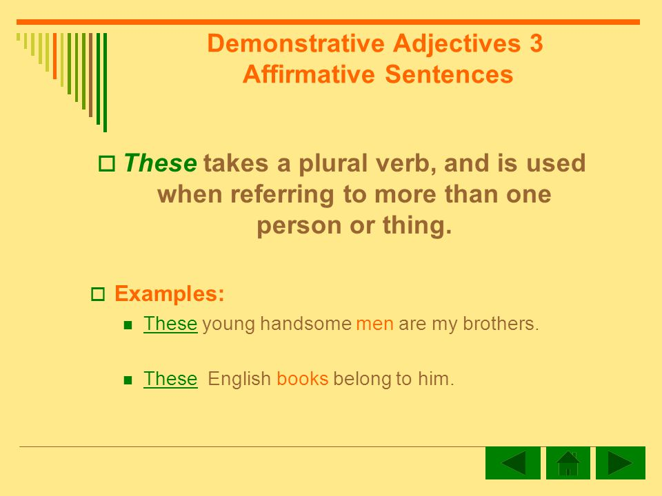 Demonstrative Adjectives 3 Affirmative Sentences These takes a plural verb, and is used when referring to more than one person or thing.