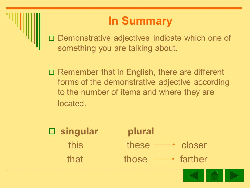 Demonstrative adjectives indicate which one of something you are talking about.