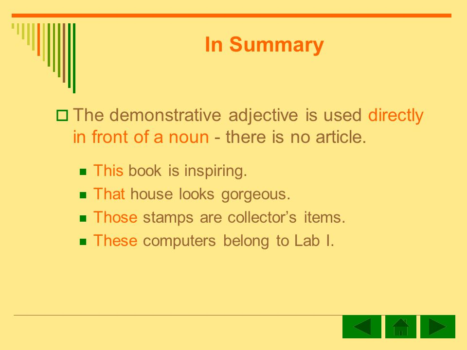 The demonstrative adjective is used directly in front of a noun - there is no article.