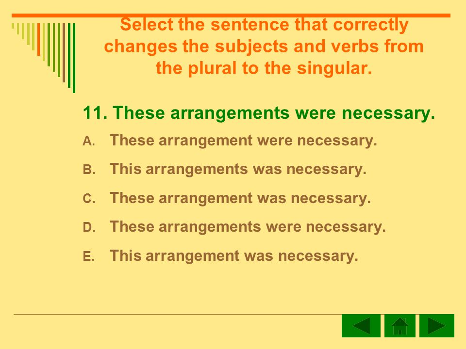 Select the sentence that correctly changes the subjects and verbs from the plural to the singular.