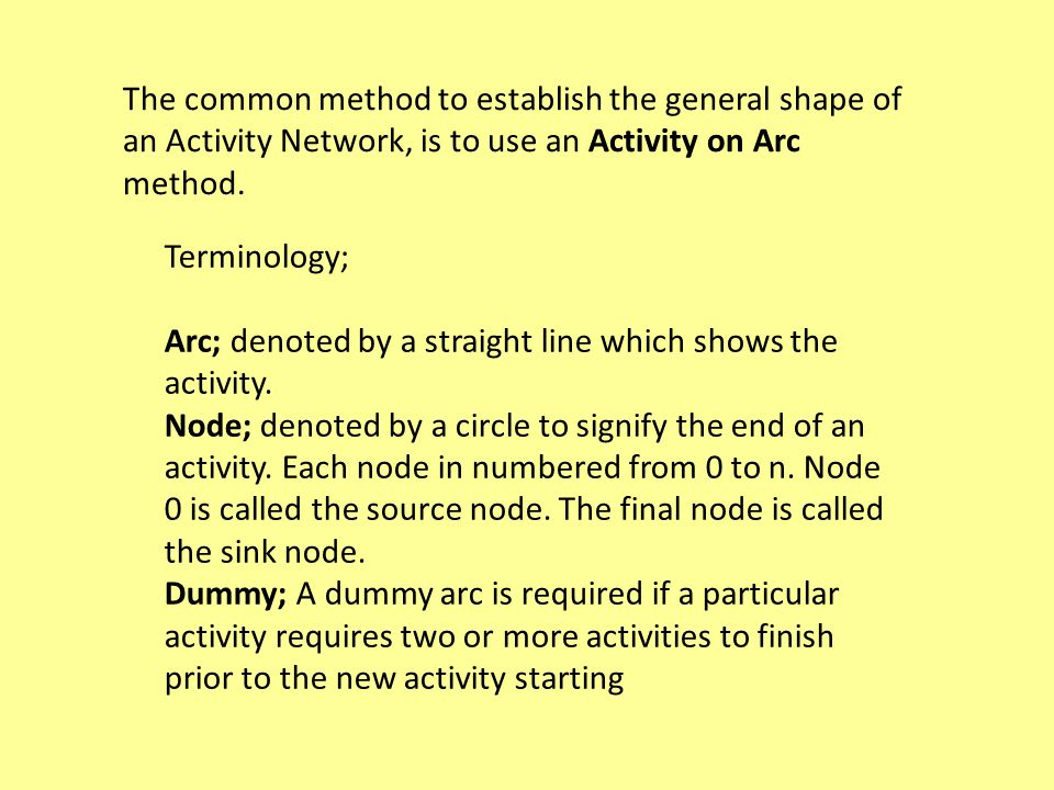 The common method to establish the general shape of an Activity Network, is to use an Activity on Arc method.