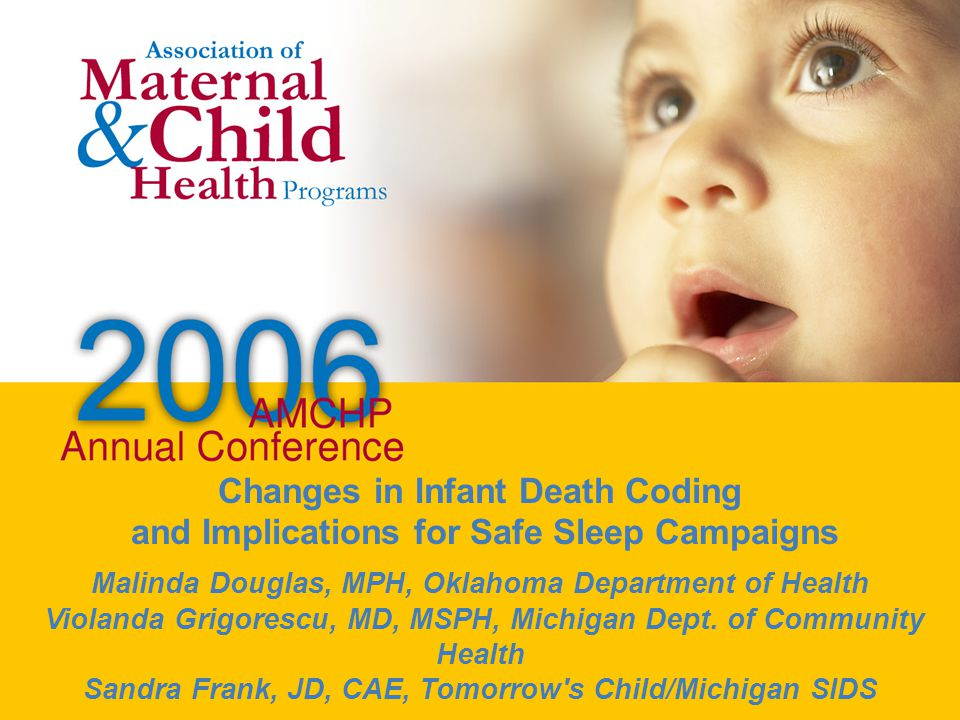 Workshop/Breakout Title Workshop/Breakout Speaker(s) Changes in Infant Death Coding and Implications for Safe Sleep Campaigns Malinda Douglas, MPH, Oklahoma Department of Health Violanda Grigorescu, MD, MSPH, Michigan Dept.