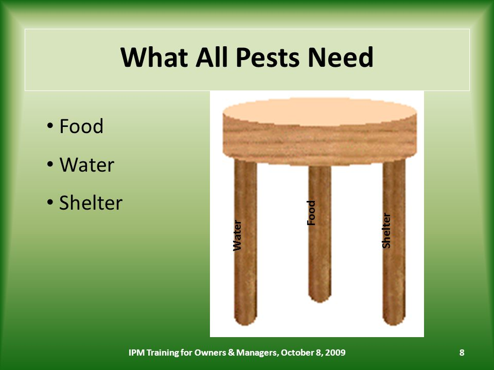 8 What All Pests Need Shelter Food Water Food Water Shelter IPM Training for Owners & Managers, October 8, 2009