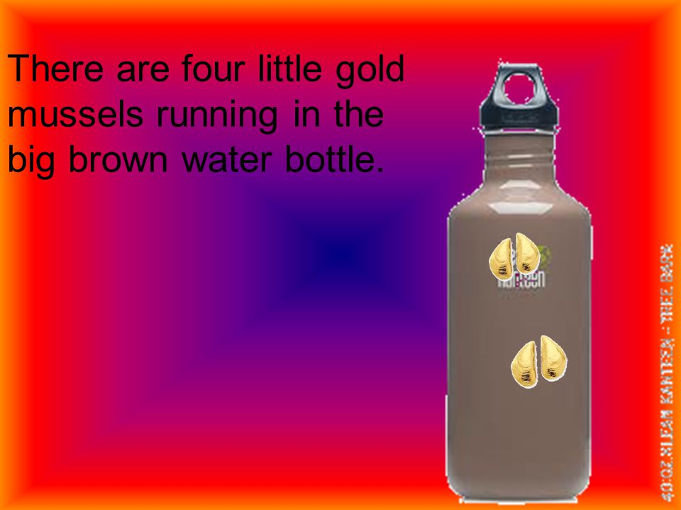There are four little gold mussels running in the big brown water bottle.